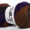 Lot of 4 x 100gr Skeins Ice Yarns PRIMADONNA (50% Wool) Yarn Purple Brown Shades Grey Shades