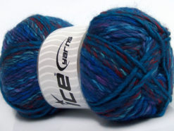 Lot of 4 x 100gr Skeins Ice Yarns MYSTIQUE (25% Wool) Yarn Navy Blue Purple Burgundy