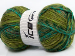 Lot of 4 x 100gr Skeins Ice Yarns MYSTIQUE (25% Wool) Yarn Green Shades Turquoise Khaki
