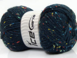 Lot of 4 x 100gr Skeins Ice Yarns WOOL TWEED SUPERBULKY (25% Wool 3% Viscose) Yarn Navy