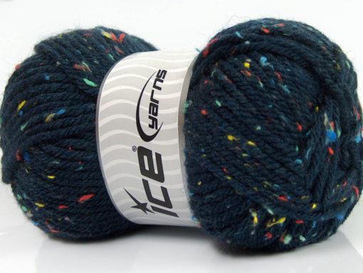 Lot of 4 x 100gr Skeins Ice Yarns WOOL TWEED SUPERBULKY (25% Wool 3% Viscose) Yarn Navy