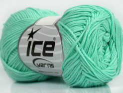Lot of 8 Skeins Ice Yarns COTTON BAMBOO (50% Bamboo 50% Cotton) Yarn Mint Green