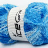 Lot of 4 x 100gr Skeins Ice Yarns PUFFY (100% MicroFiber) Yarn Blue Shades