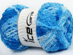 Lot of 4 x 100gr Skeins Ice Yarns PUFFY (100% MicroFiber) Yarn Blue Shades