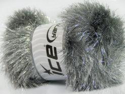 Lot of 4 x 100gr Skeins Ice Yarns EYELASH DAZZLE Yarn Grey Silver