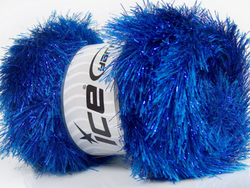 Lot of 4 x 100gr Skeins Ice Yarns EYELASH DAZZLE Hand Knitting Yarn Blue