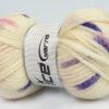 Lot of 4 x 100gr Skeins Ice Yarns TUBEWOOL BULKY SPOTS (11% Wool) Yarn Cream Pink Lilac