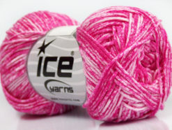 Lot of 8 Skeins Ice Yarns JEANS (100% Cotton) Yarn Candy Pink White