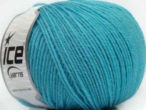 Lot of 3 x 100gr Skeins Ice Yarns SUPERWASH WOOL Yarn Light Turquoise
