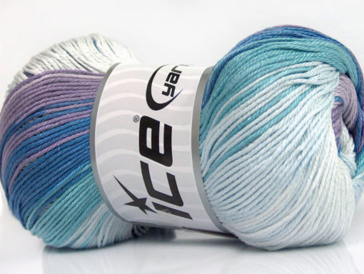 Lot of 4 x 100gr Skeins Ice Yarns CAMILLA COTTON MAGIC (100% Mercerized Cotton) Yarn Blue Shades Lilac Shades