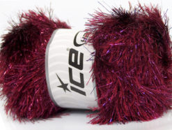 Lot of 4 x 100gr Skeins Ice Yarns EYELASH DAZZLE Yarn Burgundy Pink