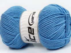 Lot of 4 x 100gr Skeins Ice Yarns LORENA WORSTED (55% Cotton) Yarn Baby Blue
