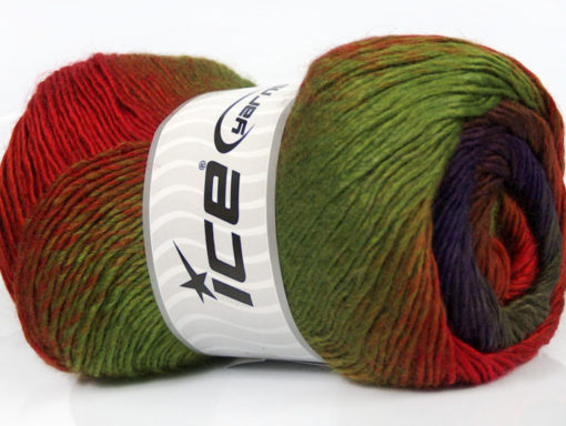 Lot of 4 x 100gr Skeins Ice Yarns PRIMADONNA (50% Wool) Yarn Green Red Purple Brown Camel