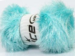 Lot of 4 x 100gr Skeins Ice Yarns EYELASH GLITZ Yarn Light Turquoise