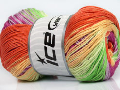 Lot of 4 x 100gr Skeins Ice Yarns CAMILLA COTTON MAGIC (100% Mercerized Cotton) Yarn Green Orange Yellow Orchid