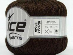 Lot of 6 Skeins Ice Yarns VISCOSE CHAIN (40% Viscose) Yarn Dark Brown