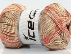 Lot of 4 x 100gr Skeins Ice Yarns TROPICAL MERCERIZED (100% Mercerized Cotton) Yarn Salmon Beige Cream