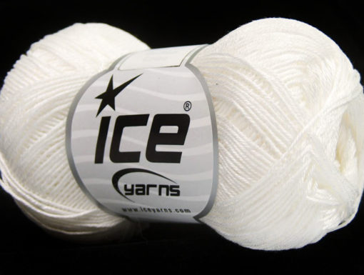 Lot of 6 Skeins Ice Yarns ALMINA COTTON (100% Mercerized Cotton) Yarn White