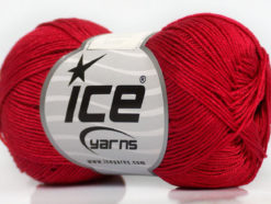 Lot of 6 Skeins Ice Yarns ALMINA COTTON (100% Mercerized Cotton) Yarn Red