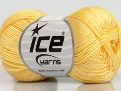 Lot of 6 Skeins Ice Yarns ALMINA COTTON (100% Mercerized Cotton) Yarn Light Yellow