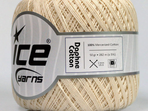 Lot of 6 Skeins Ice Yarns DAPHNE COTTON (100% Mercerized Cotton) Yarn Cream