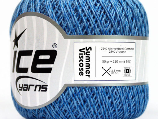 Lot of 6 Skeins Ice Yarns SUMMER VISCOSE (72% Mercerized Cotton 28% Viscose) Yarn Blue