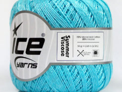 Lot of 6 Skeins Ice Yarns SUMMER VISCOSE (72% Mercerized Cotton 28% Viscose) Yarn Light Turquoise