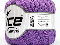 Lot of 6 Skeins Ice Yarns SUMMER VISCOSE (72% Mercerized Cotton 28% Viscose) Yarn Lavender