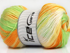 Lot of 4 x 100gr Skeins Ice Yarns MAGIC BABY Yarn Green Orange Yellow White