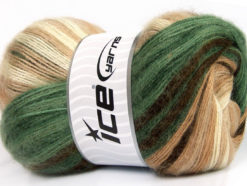 Lot of 4 x 100gr Skeins Ice Yarns MOHAIR MAGIC (20% Mohair 20% Wool) Yarn Green Brown Shades Cream