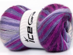 Lot of 4 x 100gr Skeins Ice Yarns MOHAIR MAGIC (20% Mohair 20% Wool) Yarn Purple Lavender Lilac Fuchsia