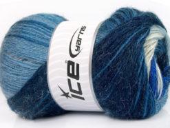 Lot of 4 x 100gr Skeins Ice Yarns MOHAIR MAGIC GLITZ (20% Mohair 20% Wool) Yarn Blue Shades