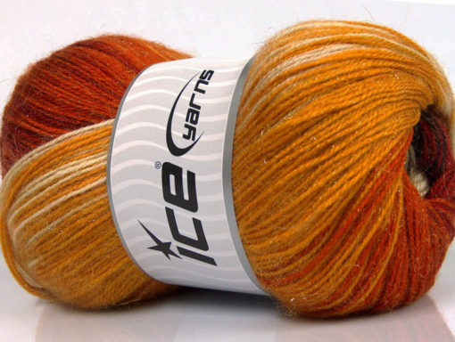 Lot of 4 x 100gr Skeins Ice Yarns MOHAIR MAGIC GLITZ (20% Mohair 20% Wool) Yarn Copper Gold Brown Camel Cream