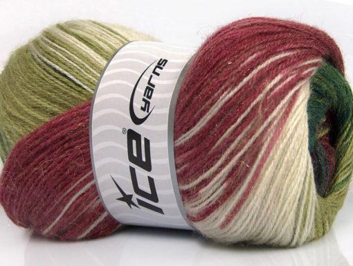 Lot of 4 x 100gr Skeins Ice Yarns MOHAIR MAGIC GLITZ (20% Mohair 20% Wool) Yarn Green Shades Burgundy White