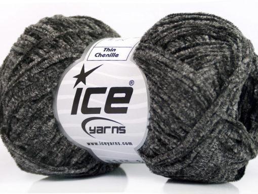 Lot of 8 Skeins Ice Yarns THIN CHENILLE Hand Knitting Yarn Grey Shades