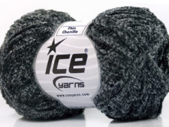 Lot of 8 Skeins Ice Yarns THIN CHENILLE Hand Knitting Yarn Black Grey Shades