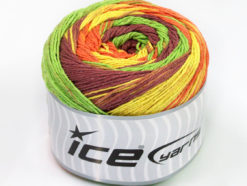 Lot of 2 x 200gr Skeins Ice Yarns CAKES NATURAL COTTON (100% Cotton) Yarn Green Maroon Yellow Orange