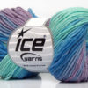Lot of 8 Skeins Ice Yarns LORENA PRINT (55% Cotton) Yarn Mint Green Blue Lilac