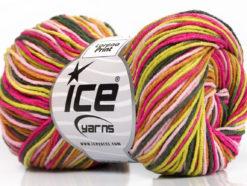 Lot of 8 Skeins Ice Yarns LORENA PRINT (55% Cotton) Yarn Pink Shades Green Shades Brown