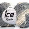 Lot of 8 Skeins Ice Yarns LORENA PRINT (55% Cotton) Yarn Grey Shades White