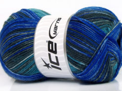 Lot of 4 x 100gr Skeins Ice Yarns SALE SOCK YARN (75% Superwash Wool) Yarn Blue Grey Turquoise