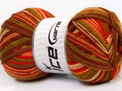 Lot of 4 x 100gr Skeins Ice Yarns PRINT SOCK (75% Superwash Wool) Yarn Brown Orange Green Salmon