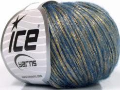 Lot of 8 Skeins Ice Yarns ROCK STAR (19% Merino Wool) Yarn Gold Blue