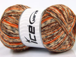 Lot of 4 x 100gr Skeins Ice Yarns PRINT SOCK (75% Superwash Wool) Yarn Brown Grey Orange Cream