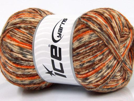 Lot of 4 x 100gr Skeins Ice Yarns PRINT SOCK (75% Superwash Wool) Yarn Brown Grey Orange Cream