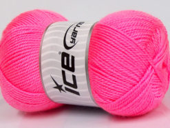 Lot of 4 x 100gr Skeins Ice Yarns DORA Hand Knitting Yarn Neon Pink
