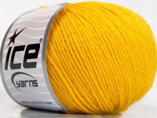 Lot of 4 Skeins Ice Yarns BABY ALPACA (45% Superwash Extrafine Merino Wool) Yarn Yellow