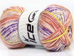 Lot of 4 x 100gr Skeins Ice Yarns BABY COTTON PRINT (50% Cotton) Yarn Cream Salmon Yellow Lilac