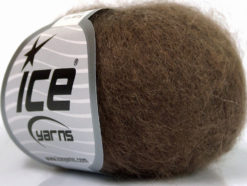 Lot of 6 Skeins Ice Yarns SUPER KID MOHAIR (52% SuperKid Mohair 13% Superwash Extrafine Merino Wool) Yarn Brown