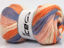 Lot of 4 x 100gr Skeins Ice Yarns ANGORA PRINT (20% Angora 20% Wool) Yarn Lilac Orange Light Pink Cream